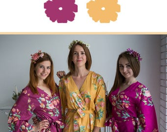 Plum and Mustard Wedding Color Bridesmaids Robes - Premium Soft Rayon - Wider Belt and Lapels - Wider Kimono sleeves