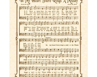 IN MY HEART There Rings A Melody - Hymn Wall Art Christian Home & Office Decor Vintage Verses Sheet Music Inspirational Wall Art Sepia Brown
