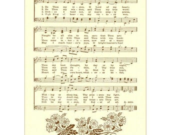 BE THOU My VISION - Christian Home & Office Decor - Hymn Wall Art Print Sheet Music Wall Art Vintage Verses Inspirational Wall Art 5x7 sale