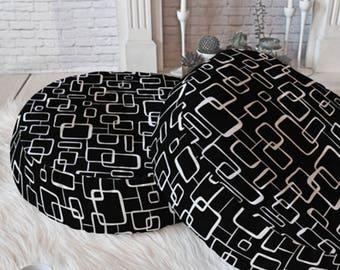Midcentury Modern Round and Square Floor Pillows // Floor Cushion // Dorm Decor // Retro Geometric // On The Quad Design // Black // Geo