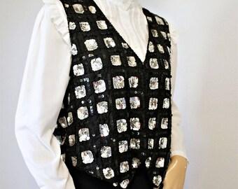 Sequin Vest Vintage Black Silver Boho Silk Vest Tagged Size Small