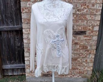 Cream Cotton Altered Blouse, BoHo style, shabby chic, romantic blouse, size L, cottage chic, mori girl style,Lace embellished,Cross Applique