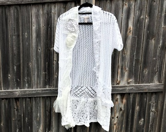 Altered Women's White Shrug, Altered Couture- Small, White Sheer and Lace Ruffled Trim, Shabby Chic, Romantic, Feminine Top, Sheer Flowers