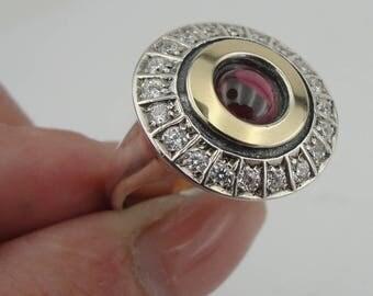 Art Deco Garnet 925 silver ring, Cluster Vintage ring, Yellow gold & 925 Silver Ring,Red Garnet Round Ring, Size 8.5,  CZ Ring ( ms 1334)