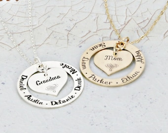 "Eternity mother necklace • 1 1/4"" mother loop necklace with personalized solid heart • Engraved Necklace • Mother Necklace - Mom Jewelry"