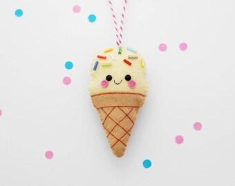 Vanilla Ice Cream Felt Decoration, Hanging Ornament, Cute Foodie Gift