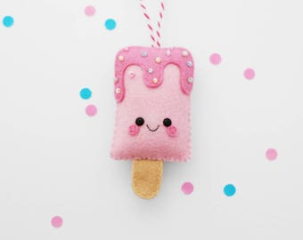 Pink Strawberry Ice Pop Felt Decoration, Hanging Ornament, Ice Lolly, Pastel Gift