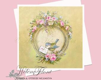 Carte Impression - St Valentin Oiseau Message Tag Peinture Guirlande  roses Country chic Anniversaire Fête Annonce © Hélène Flont Designs