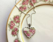 Antique French porcelain - broken china jewelry - heart pendant necklace - soft pink roses - recycled china