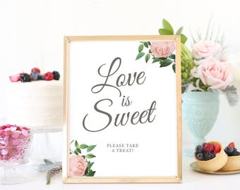 Love is Sweet Sign, Love is Sweet Printable, Dessert Table Sign, Please Take a Treat, Wedding Signs, Vintage Botanical | SUITE028