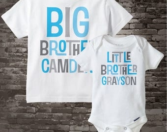 Big Brother Little Brother Shirt set of 2, Sibling Shirt, Personalized Tshirt with Light Blue and Grey Letters 08302013a