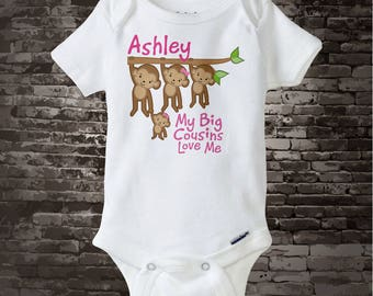 Personalized My Big Cousins Love Me Onesie or Tee Shirt with cute little monkeys 11042014a