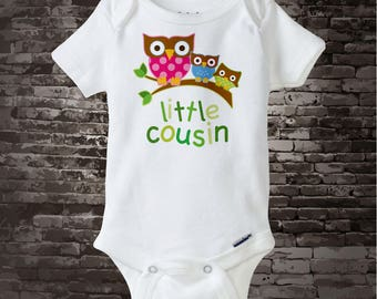 Personalized Little Cousin Onesie or Tee Shirt with three owls on a branch Girl Boy and Unknown 04142014g
