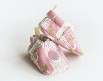 Organic Knits Vegan Pink Trees/ All Fabric Soft Sole Baby Shoes / Made to Order