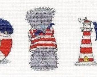 Tatty Teddy Me to You Bear, Three Little Sailors cross stitch kit, BL1077, sailor cross stitch, embroidery kit, teddy bear kit, needlework