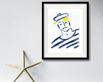 Sailor Boy art Print, sailor print, nautical art, Marine, retro, Navy and Yellow, stripes, men, fathers day, Beach cabin decor