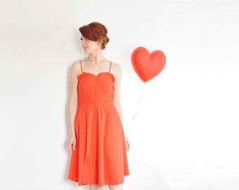 red ruffle sweetheart dress . 1970 summer love heart frock .small