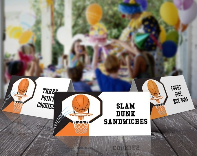 Basketball Food Labels - Basketball Party, Basketball Birthday. Basketball Party,Table Tent,Place Cards | DIY Instant Download PDF Printable