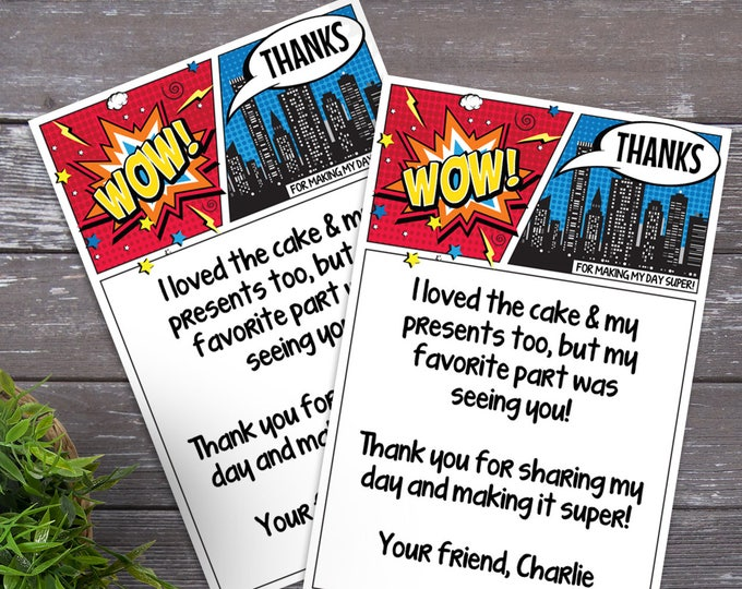 Superhero Thank You Card - Superhero Birthday Party, Comic Book Thank You Note, Self-Editing | DIY Editable Text INSTANT DOWNLOAD Printable