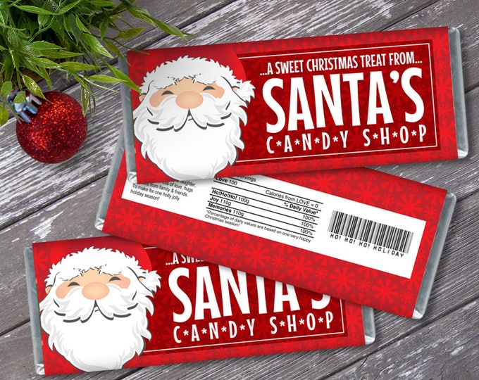 Santa Candy Bar Wrappers - Santa Party Favor, Chocolate Labels, Christmas Party Candy Wrap | Editable Text - Instant Download PDF Printable
