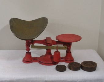 Vintage Red Store Scale with Brass Pan - Cast Iron Weights