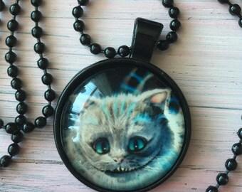 Cheshire cat Alice in wonderland necklace pendant Black