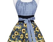 Flirty Chic Retro Apron - Womens Sunflowers and Black Gingham Apron - Sexy Pinup Kitchen Apron with Pocket - Apron with Monogram Option
