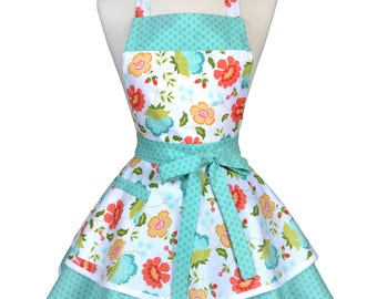 Womens Ruffled Retro Apron / Coral and Teal Spring Floral Womans Cute Flirty Vintage Pinup Kitchen Apron to Monogram or Personalize (FM)