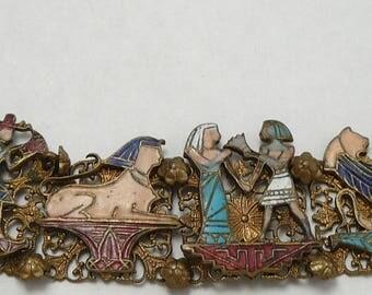 Egyptian Revival Enamel Bracelet Scenes on Stamped Filigree Links Vintage Sphinx People Harp Player