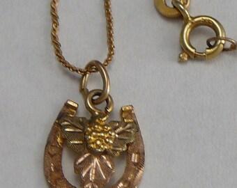 Black Hills Rose Gold 12K Horseshoe Pendant on 14K Chain Pink & Green Gold