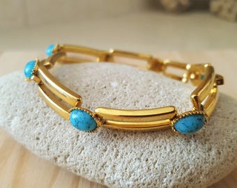 New Listing Sale...Gorgeous Turquoise Gold Bracelet. Gold Turquoise Bracelet. Israel Jewelry. Turquoise Gold Bracelet Vintage