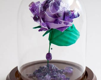 Eternal amethyst rose smaller decorative globe -made to order