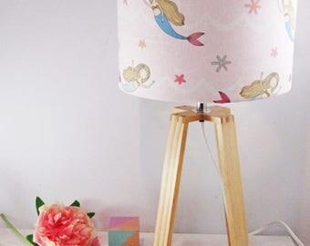 Little Girl Mermaid Lampshade on Wooden Table Lamp Base - Bedside Lamp- Child Light - Little Girls Room - Free Shipping