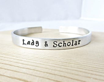 Lady & Scholar, Inspirational Bracelets for Women, personalized, feminist jewelry, feminism, PhD, scientist, college student, empowerment