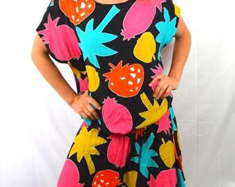 Vintage 80s FUN Fruit Rainbow Palm Tree Dress by Carole Little for Saint-Tropez West