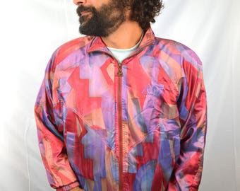Radical 80s Iridescent Purple FUN Windbreaker Jacket