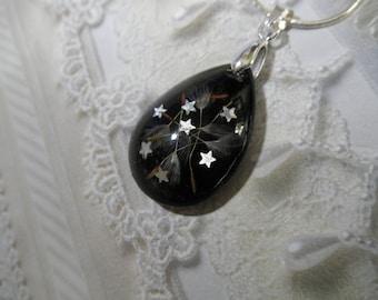 In A Galaxy Far,Far Away-Dandelion Seeds-Hologram Stars Encased in Glass-Teardrop Pendant-Black Background-Symbolizes Happiness-Make A Wish