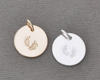Hand Stamped Footprints Charm for Necklace or Bracelet / Choose Gold Fill OR Sterling Silver