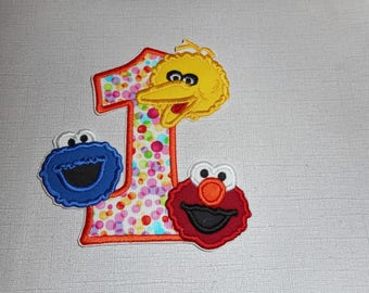 Free Shipping Ready to Ship Number 1 monsters  Machine Embroidery  iron on applique
