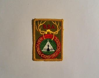 Vintage Boy Scouts of America BSA National Camping School antlers pocket patch late 1960s
