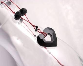 Black Crystal Heart Necklace, Knotted Silk, Swarovski Jet Miss U Heart, Red
