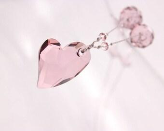 Pink Heart Crystal Necklace, Swarovski Devoted 2 U, Gray Silk