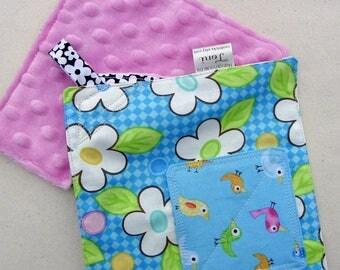 Sensory Crinkle Toy - Crackle Toy - Minky Lovie - Travel Toy - Stroller Toy - Crinkle Sensory Toy - Pink Blue - Bird Lovie - Simple Toy