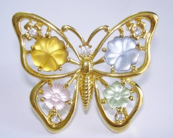 Flower Butterfly Brooch Signed Monet Multi Tone