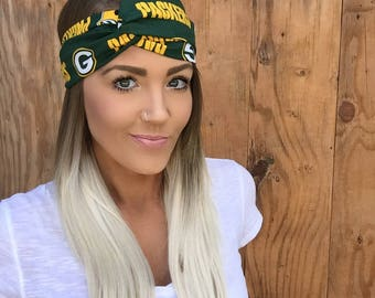 Green Bay Packers Pinup Style Turban Headband || Hair Band Wisconsin Accessory Cotton Workout Yoga Fashion Black Green Yellow White Scarf