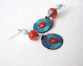 Aqua Blue Earrings, Orange Earrings, Enamel Earrings, Lampwork Earrings, Unique Artisan Made Earrings, Beaded Earrings, Boho Earrings