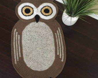 Bigger Crochet Oval Owl Rug,Owl Rug,Hand made Rug, Oval Rug,Kids Rug
