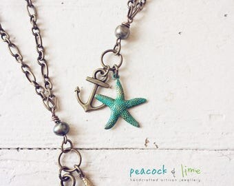 Tiny anchor and starfish necklace // cultured pearl // antique brass patina // bohemian style long necklace // ocean nautical theme//dainty