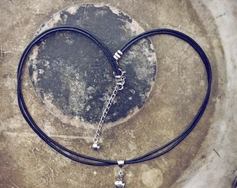 Sterling silver puffy heart charm leather choker necklace // boho wrap bracelet // sweetheart gift // simple design // handmade jewelry