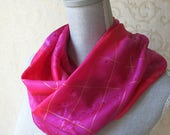 Silk Scarf Hand Dyed in Rose and Fuchsia with Gold